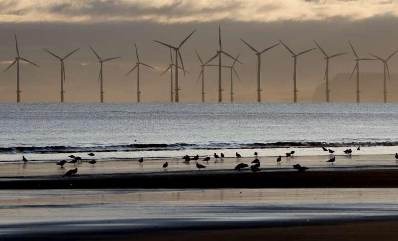 世界能源展望報告:位於英格蘭東北部哈特浦(Hartlepool)的離岸風力發電廠。(AP)