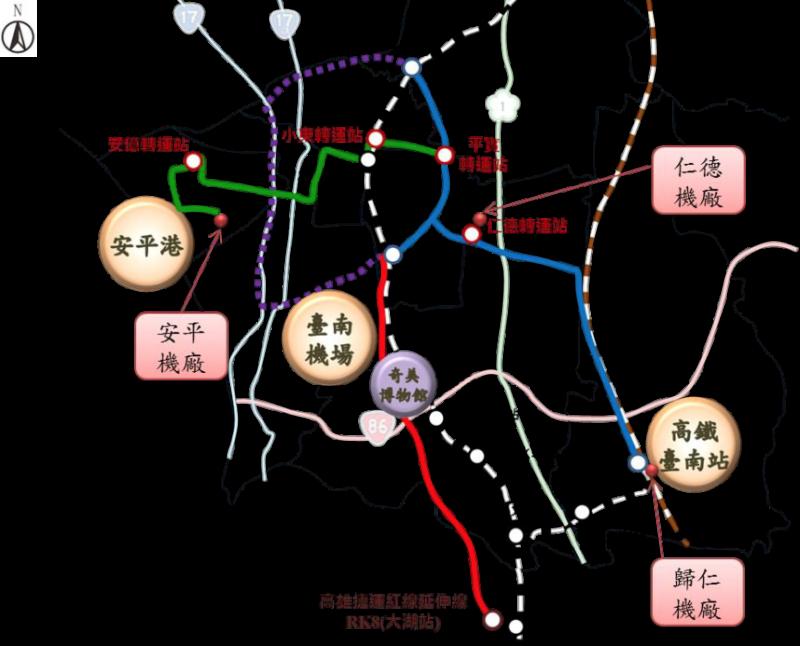 圖一,台南捷運系統。(作者陳致曉提供)