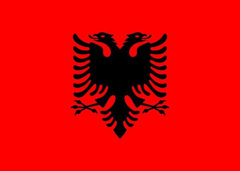 阿爾巴尼亞雙頭鷹(Double-headed eagle)旗幟(取自維基百科)