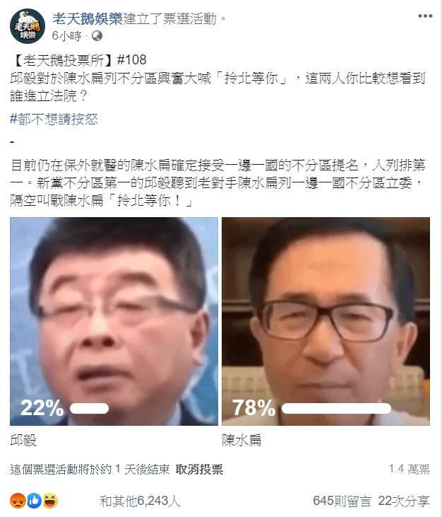 臉書粉專「老天鵝娛樂」舉辦網路投票,詢問網友對於前立委邱毅(左)和前總統陳水扁(右)「這兩人你比較想看到誰進立法院?」(截圖自老天鵝娛樂)