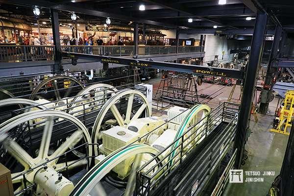 舊金山纜索鐵道的動力來源,就是來自於這些巨大的纜索系統(位於纜索鐵道博物館內。攝影:陳威臣)圖/想想論壇