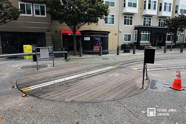 相當特殊的舊金山纜索鐵道轉盤,由於沒有動力,因此車輛要旋轉方向,必須依靠人力。(攝影:陳威臣)圖/想想論壇