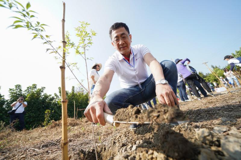 安斯泰來總經理張晉彰帶領員工種下一棵棵小樹苗,一起埋下希望的種子。(圖/風傳媒攝)