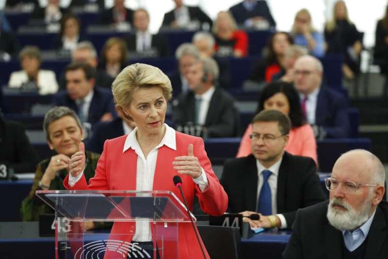 歐盟執委會(EU Commission)新任主席馮德萊恩27日在法國史特拉斯堡再次承諾,12月1日就任後將於100天內提出《歐洲氣候法案》。(AP)
