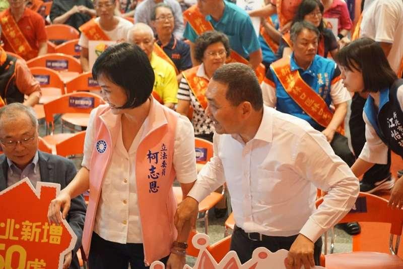 20191201-新北市長侯友宜(右)靠自己的聲勢,主動拉抬板綠營新北立委候選人。左為板橋區立委選將柯志恩。(取自柯智恩官方臉書)