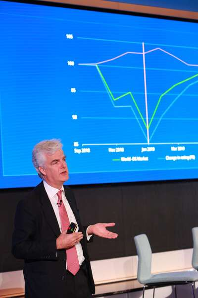 20191201-成立超過200年的施羅德資產管理公司(Schroders)11月14日在英國倫敦舉行全球投資論壇,施羅德全球投資長Charles Prideaux進行說明。(施羅德資產管理公司提供)