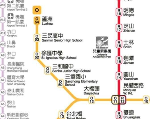 以學校為站名的捷運站集中在中和新蘆線。(圖/截自台北捷運)