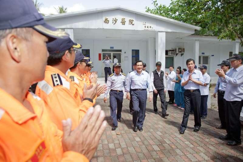 馬英九在2016選舉後登上太平島,惹惱了美方。(總統府提供)