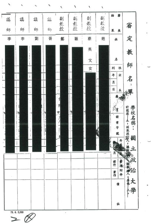 20191205-立法委員陳學聖表示,無法查得教育部核發蔡英文任政大副教授證書之公文。對此,教育部5日傍晚回應,表示教育部及國家檔案局確有保存該公文,並附上蔡英文的副教授聘書。(教育部提供)
