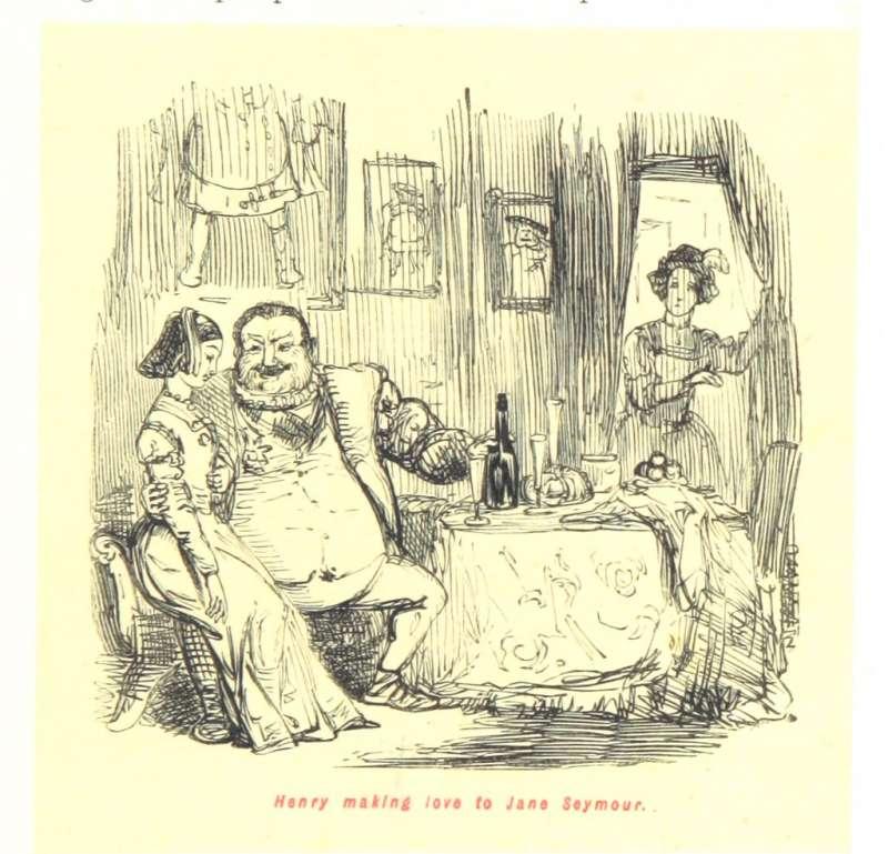 1897年一幅漫畫,描繪亨利八世與珍‧西摩偷歡的景象,門簾後方的女子疑似是當時的王后安妮‧博林。(British Library@flickr_publicdomain)