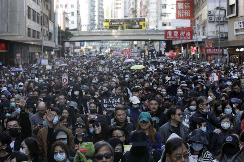 2019年12月8日,香港民陣發起「12.8國際人權日」遊行(AP)