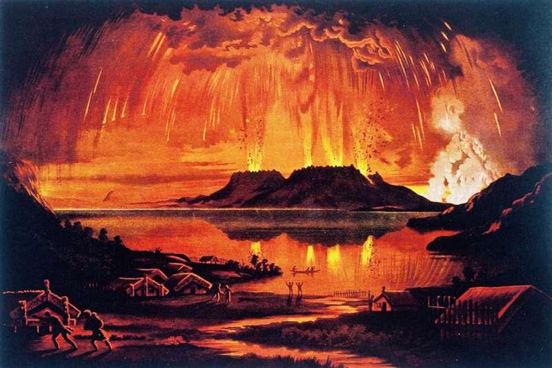 1886年6月10日,紐西蘭北島的塔拉威拉山(Mount Tarawera)大噴發,奪走120人生命。(Wikipedia / Public Domain)