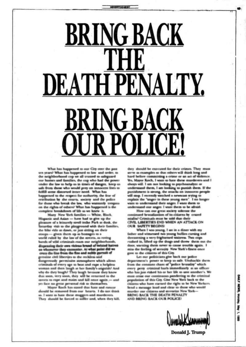 1989年5月1日,川普針對中央公園慢跑者案(Central Park jogger case)刊登的全版廣告(Wikipedia / Public Domain)