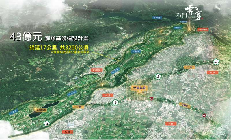 前瞻基礎建設計劃大漢溪區域鳥瞰圖。(圖/石門雲品提供)