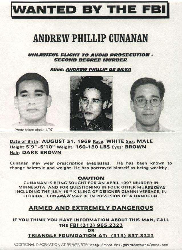 庫納南成為當年美國聯邦調查局的「十大頭號通緝要犯」之一。(圖/Wikimedia)