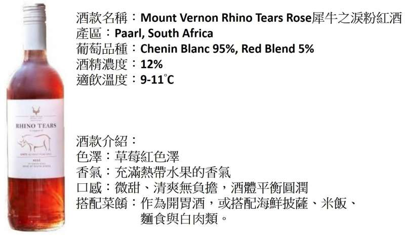 Mount Vernon Rhino Tears Rose。(圖/紅滋滋酒窖提供)