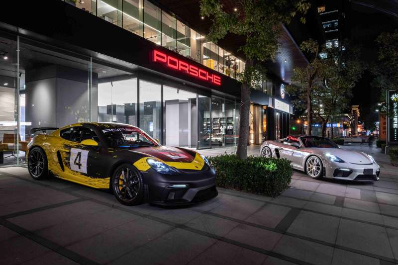 Porsche 旗下最新性能鉅作718 Cayman GT4與718 Spyder也到場同歡。(圖/台灣保時捷公司提供)