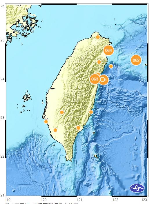 台灣由於位處地震帶,地震頻繁,光是12月以來全台已有10起測報紀錄(圖片來源:中央氣象局)