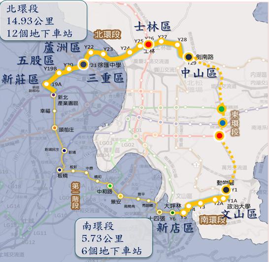 捷運環狀線示意圖。(圖/取自台北市政府官網)