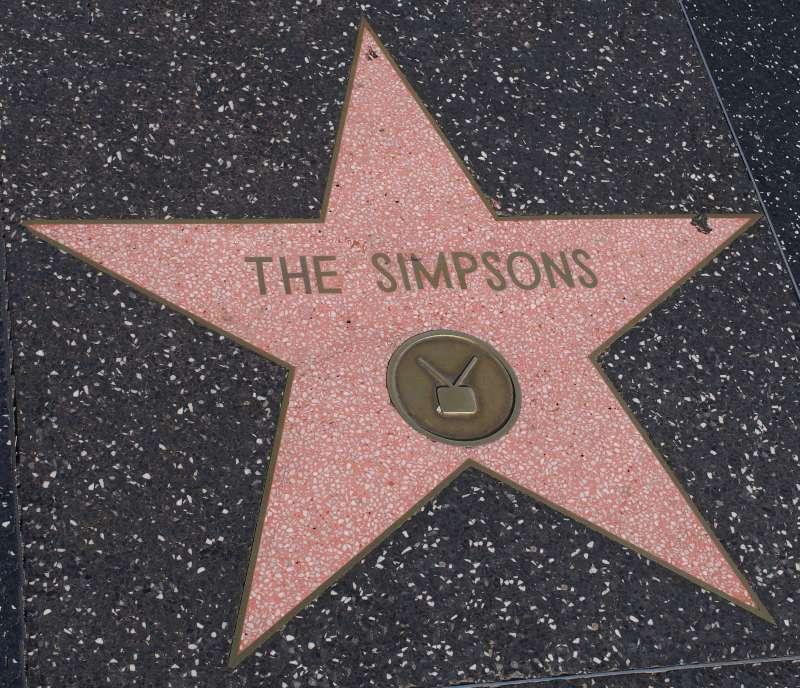 《辛普森家庭》在好萊塢星光大道上的星星。(Rastrojo@wikipedia/CC BY-SA 4.0)