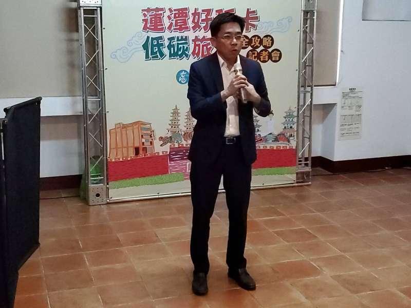 觀光局長邱俊龍表示「蓮潭好玩卡、低碳旅遊」全攻略活動正式開始。(圖/記者張忠義攝)