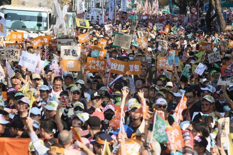 20191221-罷韓遊行21日登場,民眾走上街頭表達訴求。(柯承惠攝)