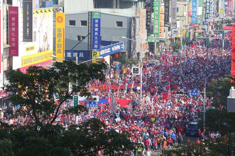 20191221-高雄挺韓遊行高點鳥瞰。(顏麟宇攝)