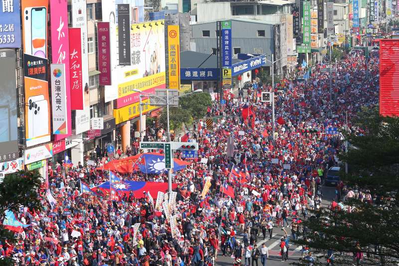 20191221-高雄挺韓遊行高點鳥瞰圖。(顏麟宇攝)