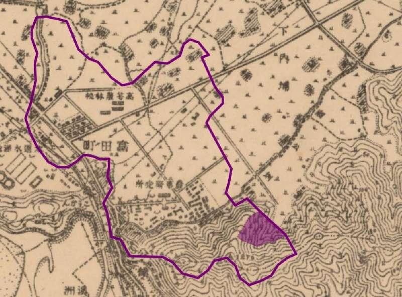 圖12:圖11之局部放大圖,紫色區塊便是墓地所在