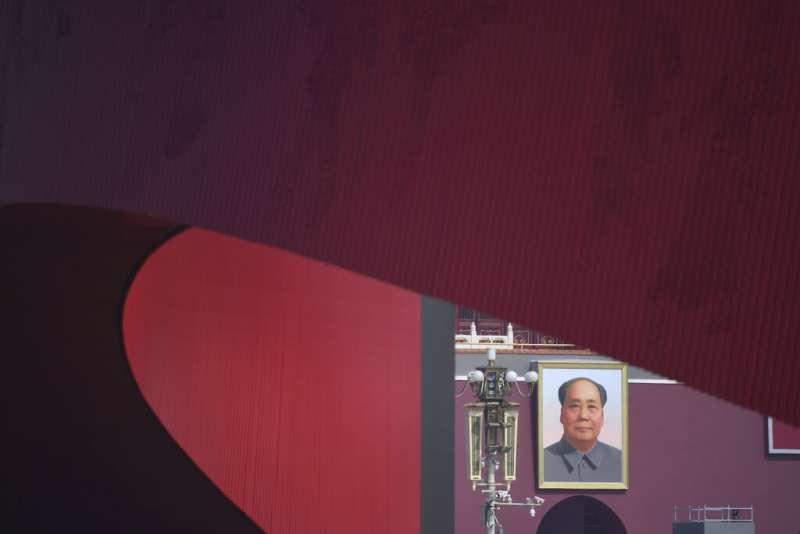 天安門廣場的毛澤東肖像。(美聯社)