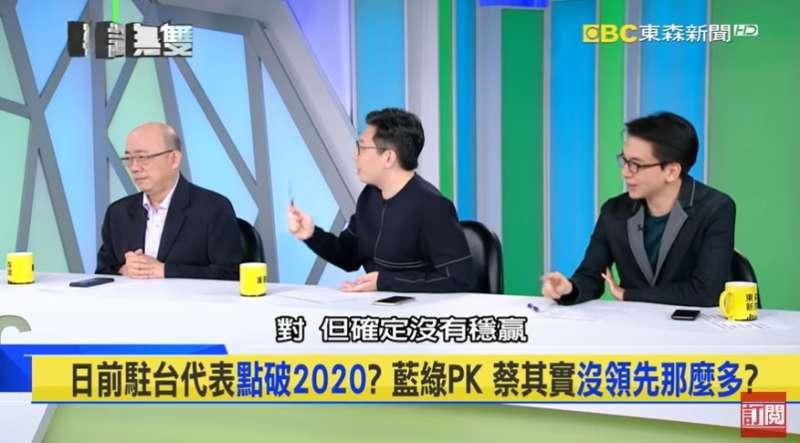 20191224-綠黨桃園市議員王浩宇(中)在23日播出的政論節目《平論無雙》中表示,總統蔡英文「確定沒有穩贏」。(取自Youtube《平論無雙》節目畫面)