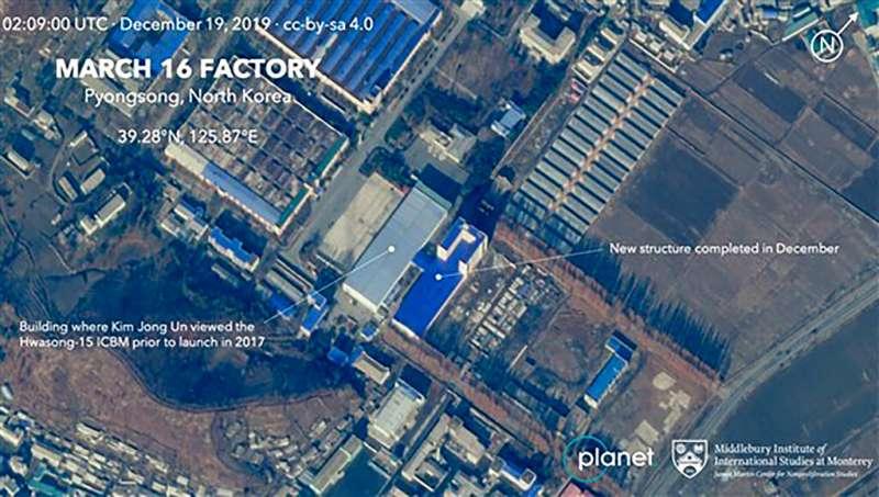 2019年12月19日的北韓衛星影像顯示,平壤「長征16工廠」(March 16 Factory)擴增大樓。(AP)
