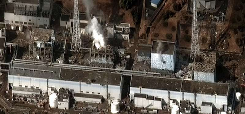 2011年日本福島發生嚴重核災,幾乎全區成為廢墟。(Digital Globe@wikipedia/CC BY-SA 3.0)