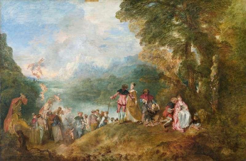 03 《舟發西地島》Jean—Antoine Watteau,突顯洛可可畫風的瑣細和美感,可視為洛可可風格第一人。1721年收藏於羅浮宮。(圖/瘋設計)
