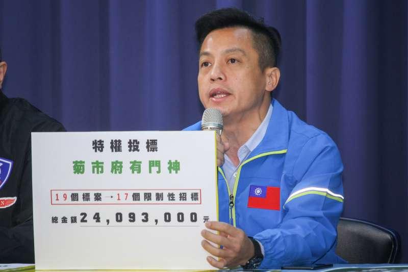 20191230-韓國瑜競選辦公室召開「辯論會重點回應 」等議題記者會,圖為北市議員李明賢。(蔡親傑攝)