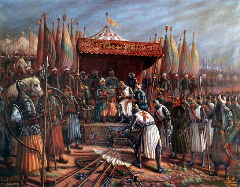 20200103-1187年哈丁之戰(Battle of Hattin)後的薩拉丁與耶路撒冷國王-吕西尼昂的居伊(Guy of Lusignan)。(作者提供,取自Said Tahseen)
