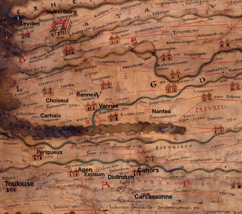 20200「Itinerarium」為古羅馬時期的出遊路線圖。(作者提供,取自wordpress.com)