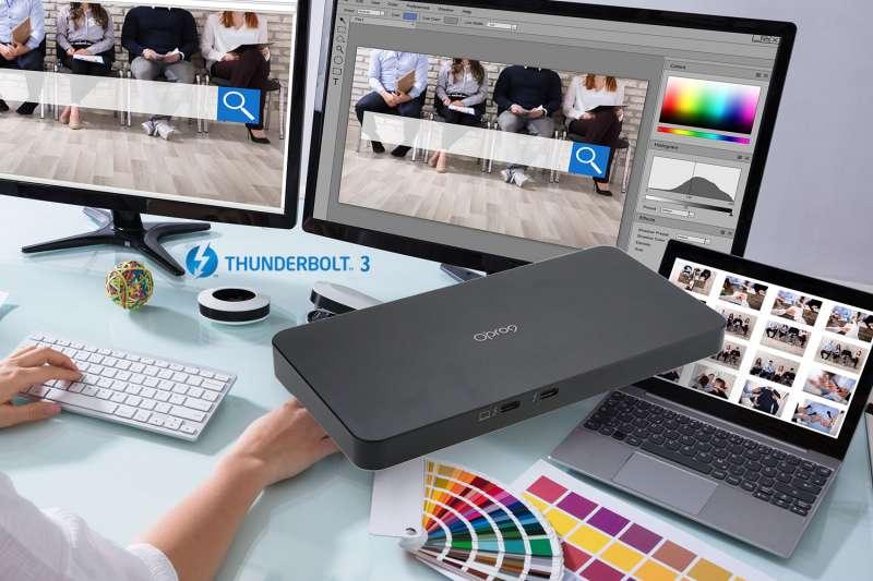 Opro9 Thunderbolt™ 3支援雙4K8K螢幕,讓剪輯工作更具突破性。(圖/Opro9)
