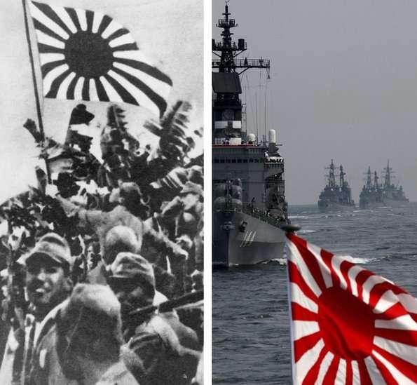 二戰中的日軍和當代日本的海上自衛隊。(圖/BBC News)