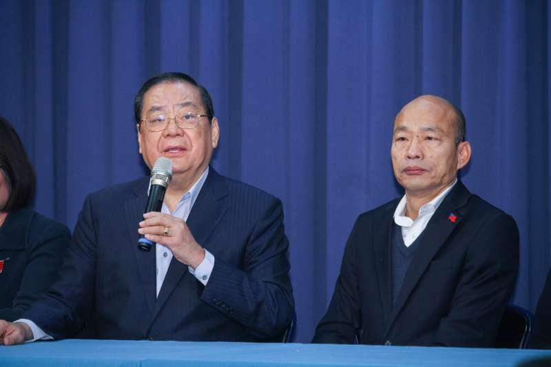 20200106-國民黨總統參選人韓國瑜、秘書長曾永權出席1/9凱道勝利晚會宣傳記者會。(蔡親傑攝)