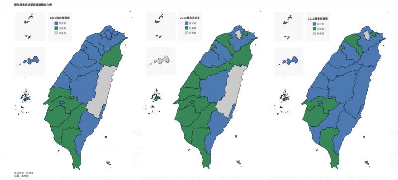 20200113-台中人的投票意向大幅度擺盪,從「歷年縣市長選舉」藍綠版圖的變化可見一班。(風傳媒製圖)