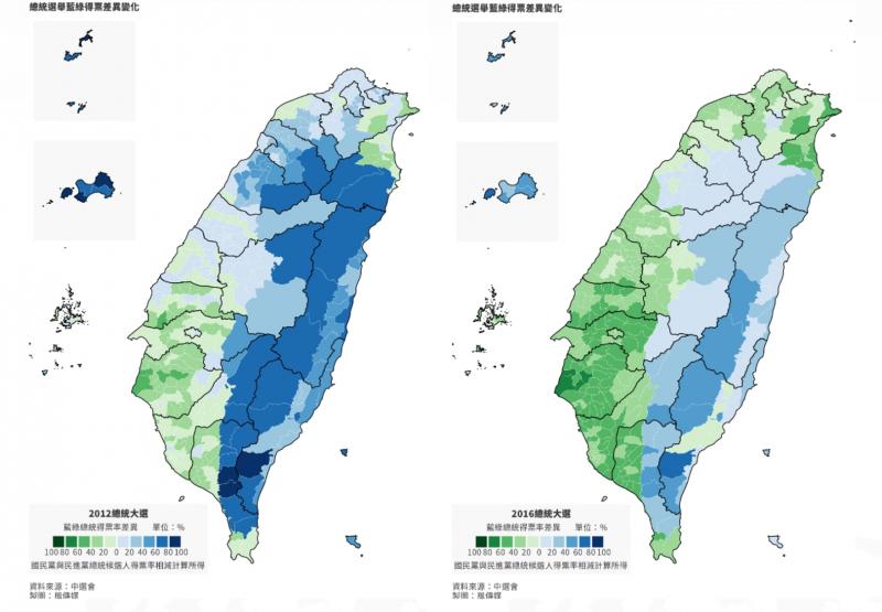 20200113-台中人的投票意向大幅度擺盪,從「歷年總統選舉」藍綠版圖的變化可見一班。(風傳媒製圖)