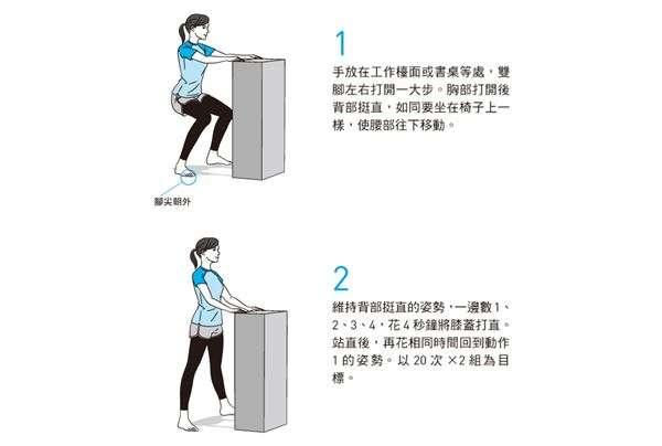 手放在工作檯面或書桌等處,雙腳左右打開一大步,進行扶桌深蹲,可以鍛鍊整個大腿。(圖片/方舟文化提供)