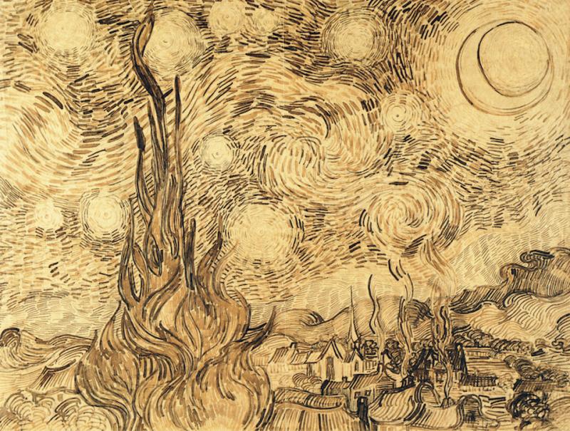 梵谷《星夜》草圖。(圖/artnet)
