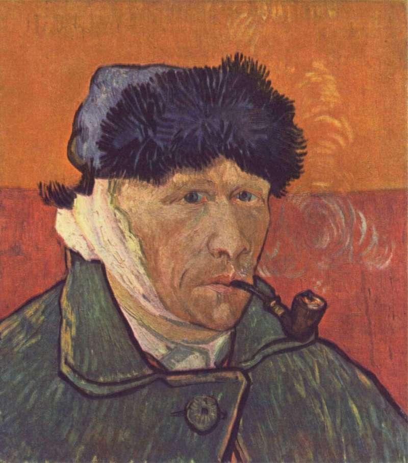 梵谷割耳後畫了兩張自畫像,圖為《Self-portrait with Bandaged Ear and Pipe》(1889)。(圖/維基百科)