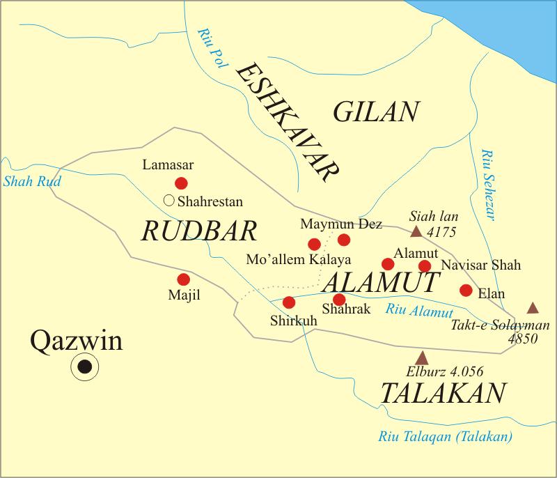 尼札爾派的城堡分佈圖(取自維基百科)