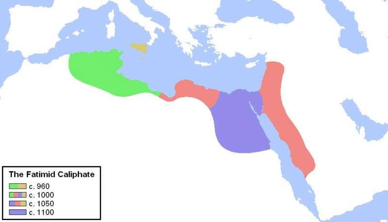 法蒂瑪王朝統治疆域流變圖(取自維基百科)