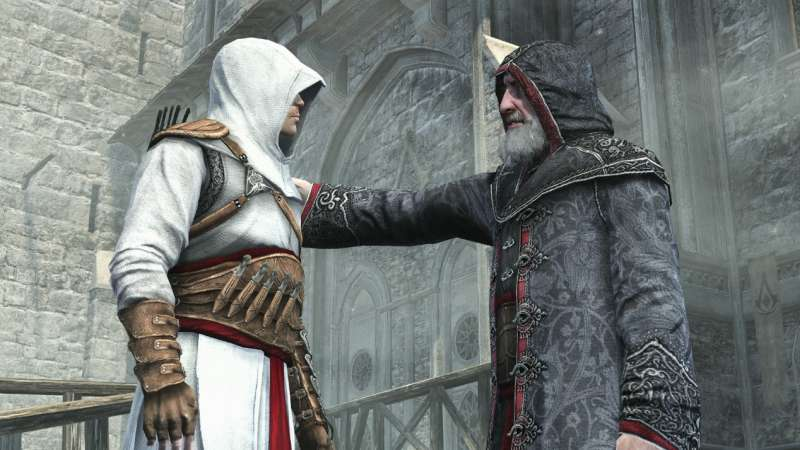 刺客信條一代主角阿泰爾與導師拉希德丁·錫南(截自遊戲畫面)