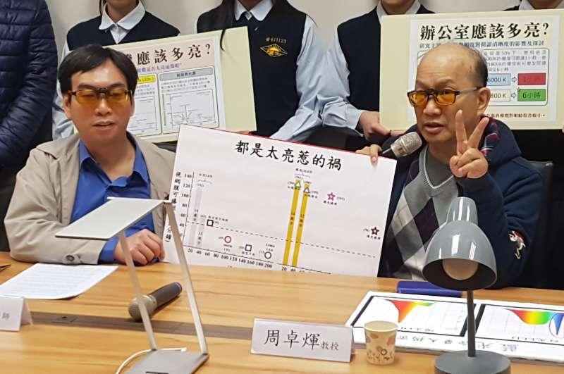 教授周卓煇說,在教室的座位中,只有前排兩側能安全閱讀超過一堂課。(圖/方詠騰攝)