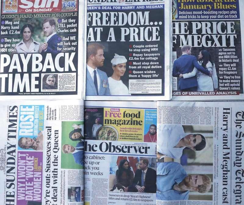 英國哈利王子與妻子梅根退出王室職務,登上英國各報頭條(AP)